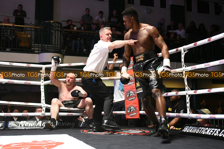 Mikael Lawal (R) defeats Jinrich Velecky during a Boxing Show at York Hall on 22nd April 2017