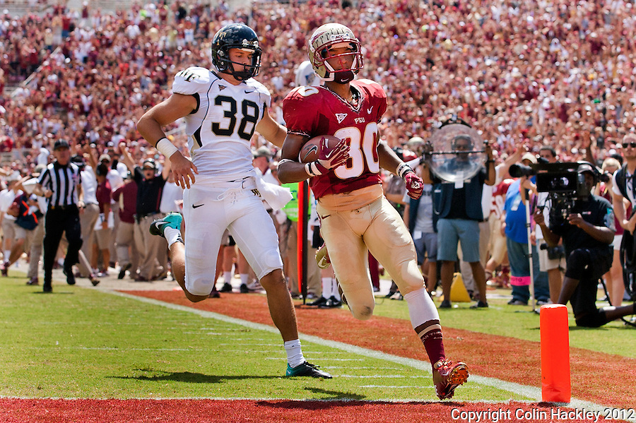 TALLAHASSEE, FL 9/15/12-FSU-WAKE091512 CH-Florida State's Rashad Greene enters the endzone ahead of Wake Forest punter Alex Kinal during first half action Saturday at Doak Campbell Stadium in Tallahassee. This was Greene's second punt of the season returned for a touchdown. The Seminoles shut out the Demon Deacons 52-0.<br />