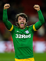 Preston North End's Ben Pearson celebrates after the final whistle<br /> <br /> Photographer Alex Dodd/CameraSport<br /> <br /> The EFL Sky Bet Championship - Middlesbrough v Preston North End - Wednesday 13th March 2019 - Riverside Stadium - Middlesbrough<br /> <br /> World Copyright &copy; 2019 CameraSport. All rights reserved. 43 Linden Ave. Countesthorpe. Leicester. England. LE8 5PG - Tel: +44 (0) 116 277 4147 - admin@camerasport.com - www.camerasport.com