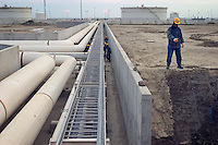 Garadag, Azerbaijan, 01/12/2004..Construction work on the Sangachal Terminal expansion programme, part of the plan to build a pipeline for oil exports from Azerbaijan through Georgia to Ceyhan in Turkey.....