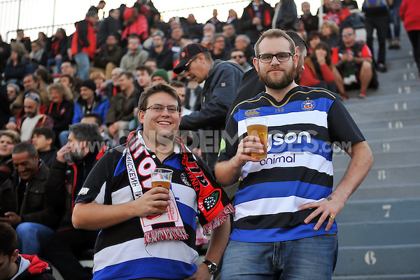A general view of Bath Rugby supporters. European Rugby Champions Cup match, between RC Toulon and Bath Rugby on January 10, 2016 at the Stade Mayol in Toulon, France. Photo by: Patrick Khachfe / Onside Images