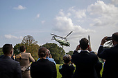 Marine One, with US President Donald J. Trump aboard, lifts off the South Lawn of the White House in Washington, DC, USA, 18 September 2020. President Trump is traveling to Minnesota to deliver remarks at a Great American Comeback event.<br /> Credit: Shawn Thew / Pool via CNP