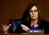 """United States Senator Martha McSally (Republican of Arizona) questions witnesses during testimony before the US Senate Committee on Armed Services during a hearing on """"Chain of Command's Accountability to Provide Safe Military Housing and Other Building Infrastructure to Service members and Their Families"""" on Capitol Hill in Washington, DC on Thursday, March 7, 2019.<br /> Credit: Ron Sachs / CNP"""