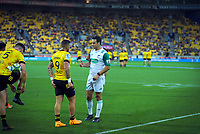 Referee Ben O'Keefe talks to Hurricanes captain TJ Perenara during the Super Rugby match between the Hurricanes and Sharks at Sky Stadium in Wellington, New Zealand on Saturday, 15 February 2020. Photo: Dave Lintott / lintottphoto.co.nz