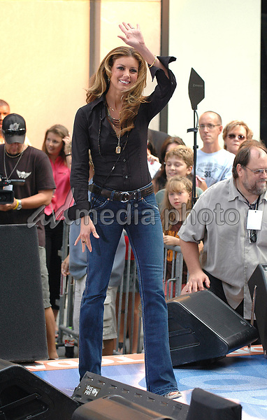 05 August 2005 - New York, New York -Country superstar Faith Hill gets ready to perform in concert at the NBC Today Show at Rockefeller Center in Manhattan.  <br />