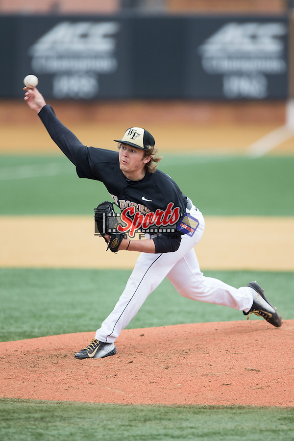 Wake Forest Demon Deacons starting pitcher Garrett Kelly (28) in action against the Towson Tigers at Wake Forest Baseball Park on March 1, 2015 in Winston-Salem, North Carolina.  The Demon Deacons defeated the Tigers 15-8.  (Brian Westerholt/Sports On Film)