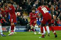 Mohamed Salah of Liverpool has a shot on goal through a crowd of players during the UEFA Champions League Quarter Final first leg match between Liverpool and Porto at Anfield on April 9th 2019 in Liverpool, England. (Photo by Daniel Chesterton/phcimages.com)<br /> Foto PHC/Insidefoto <br /> ITALY ONLY