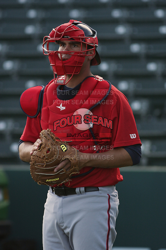 Potomac Nationals catcher Sam Palace #28 taking infield before a game against the Myrtle Beach Pelicans at Tickerreturn.com Field at Pelicans Ballpark on April 10, 2012 in Myrtle Beach, South Carolina. Potomac defeated Myrtle Beach by the score of 6-4. (Robert Gurganus/Four Seam Images)