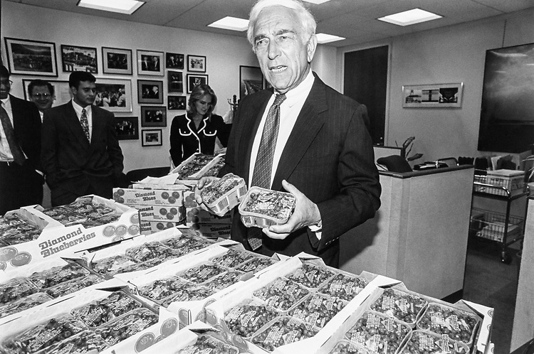 Sen. Frank Lautenberg, D-N.J. displaying New Jersey blueberries in his office for NJ Blueberry Day. He and his staff delivered blueberries to other Senators in July 1992. (Photo by Chris Ayers/CQ Roll Call)