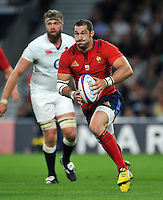 Scott Spedding of France in possession. QBE International match between England and France on August 15, 2015 at Twickenham Stadium in London, England. Photo by: Patrick Khachfe / Onside Images