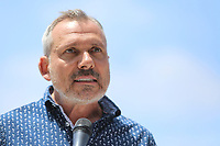 May 3 2019. Carlsbad, CA. |   Max Disposti of the North County LGBTQ Center talks at Community Call to Action Led by Community Leaders and Local Elected Officials in Response to Poway Shooting held at Alga Norte Community Park in Carlsbad. | Photos by Jamie Scott Lytle. Copyright.