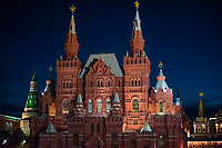 Russia, Moscow, Red Square at night.