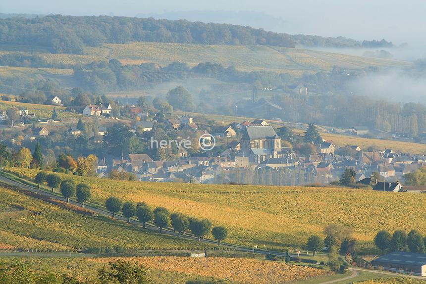 France, Cher (18), région du sancerrois, Saint-Satur, vignoble de Sancerre en automne // France, Cher, Sancerre region, Saint-Satur,Sancerre vineyards in autumn
