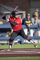 Rutgers Scarlet Knights third baseman Carmen Sclafani (19) at bat against the Michigan Wolverines on April 26, 2019 in the NCAA baseball game at Ray Fisher Stadium in Ann Arbor, Michigan. Michigan defeated Rutgers 8-3. (Andrew Woolley/Four Seam Images)
