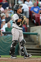 August 17 2008:  Catcher Blake Ochoa (5) of the Wisconsin Timber Rattlers, Class-A affiliate of the Seattle Mariners, during a game at Philip B. Elfstrom Stadium in Geneva, IL.  Photo by:  Mike Janes/Four Seam Images