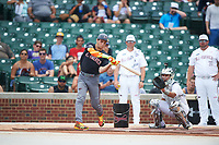 Garrett Mitchell (5) of Orange Lutheran High School in Anaheim, California during the home run derby before the Under Armour All-American Game presented by Baseball Factory on July 23, 2016 at Wrigley Field in Chicago, Illinois.  (Mike Janes/Four Seam Images)