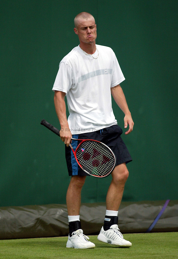 Photograph: Scott Heavey..Day 1 of the Stella Artois Championship at the Queens Club. 09/06/2003..Lleyton Hewitt.