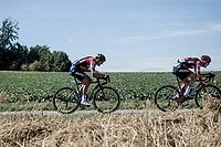 Greg Van Avermaet (BEL/BMC) trying to catch the wheel of teammate Lo&iuml;c Vliegen (BEL/BMC)<br /> <br /> Binckbank Tour 2018 (UCI World Tour)<br /> Stage 6: Riemst (BE) - Sittard-Geleen (NL) 182,2km