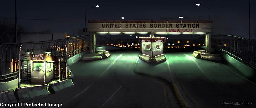 The Mexican border crossing bridge.
