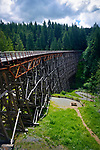 Kinsol Trestle wooden framework bridge over Koksilah river, summertime nature scenery, Shawnigan Lake, Vancouver Island, British Columbia, Canada