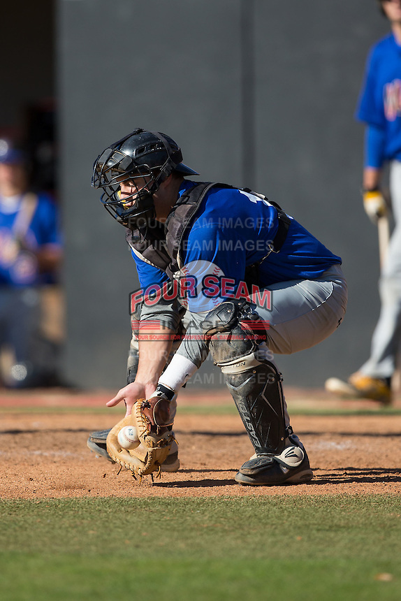 Dan Maynard (18) of Burnt Hills-Ballston Lake High School in Burnt Hills, New York playing for the Texas Rangers scout team at the South Atlantic Border Battle at Doak Field on November 2, 2014.  (Brian Westerholt/Four Seam Images)