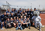 April 7, 2012:   Members of the Sparks fastpitch 10-under Wolf Pack team pose with the Nevada Wolf Pack team and mascot Wolfie before their game against the San Jose State Spartans  at Christina M. Hixson Softball Park on Saturday in Reno, Nevada.