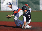 BIshop Gorman's Justin Jones gets the out against Coronado's Dillon Fahr in the state championship baseball game at the University of Nevada, Reno, in Reno, Nev., on Saturday, May 19, 2012. Gorman won 11-1 for their seventh-straight NIAA 4A title..Photo by Cathleen Allison