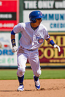 Iowa Cubs shortstop Munenori Kawasaki (1) leads off second base during a game against the Colorado Springs Sky Sox on September 4, 2016 at Principal Park in Des Moines, Iowa. Iowa defeated Colorado Springs 5-1. (Brad Krause/Four Seam Images)