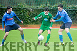 Kerry's Dylan Fitzgerald and UCD's Evan Farrell and Luka Lovic in action at the U-17 League, Kerry v UCD at Mounthawk Park on Sunday