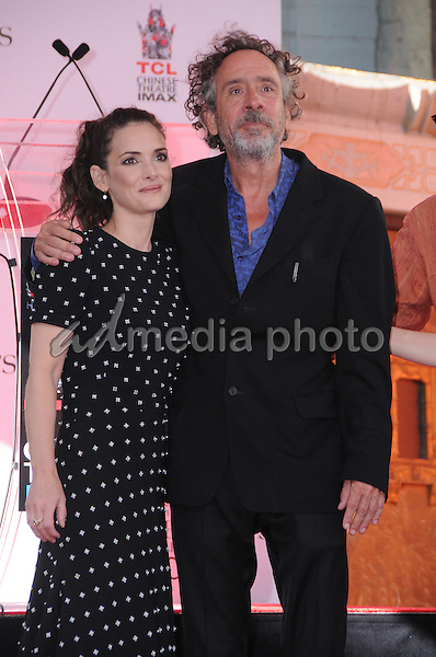 08 September 2016 - Hollywood, California. Winona Ryder, Tim Burton. Tim Burton Hand And Footprint Ceremony held at TCL Chinese Theatre. Photo Credit: Birdie Thompson/AdMedia
