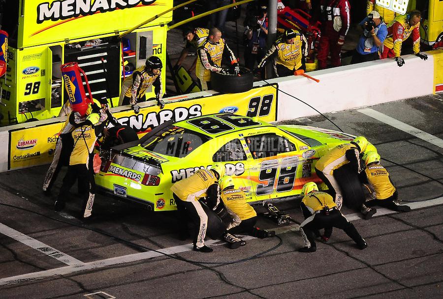 Jul. 2, 2010; Daytona Beach, FL, USA; NASCAR Nationwide Series driver Paul Menard (98) pits during the Subway Jalapeno 250 at Daytona International Speedway. Mandatory Credit: Mark J. Rebilas-