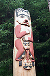 Alaska, Sitka..Totem poles at Sitka National Historic site..Photo copyright Lee Foster, 510/549-2202, lee@fostertravel.com, www.fostertravel.com..