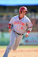 Hagerstown Suns first baseman James Yezzo (8) runs the bases during a game against the Lexington Legends on May 19, 2014 at Whitaker Bank Ballpark in Lexington, Kentucky.  Lexington defeated Hagerstown 10-8.  (Mike Janes/Four Seam Images)