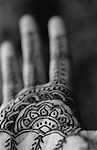 Asha's hand  is decorated with Henna for a traditional wedding celebration  called Mindi.  <br />