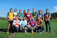 Heartland players representing each province pose for a team photo during the Pink Batts Heartland Championship 2013 season launch at Waikanae RFC, Waikanae, New Zealand on Tuesday, 13 August 2013. Photo: Dave Lintott / lintottphoto.co.nz