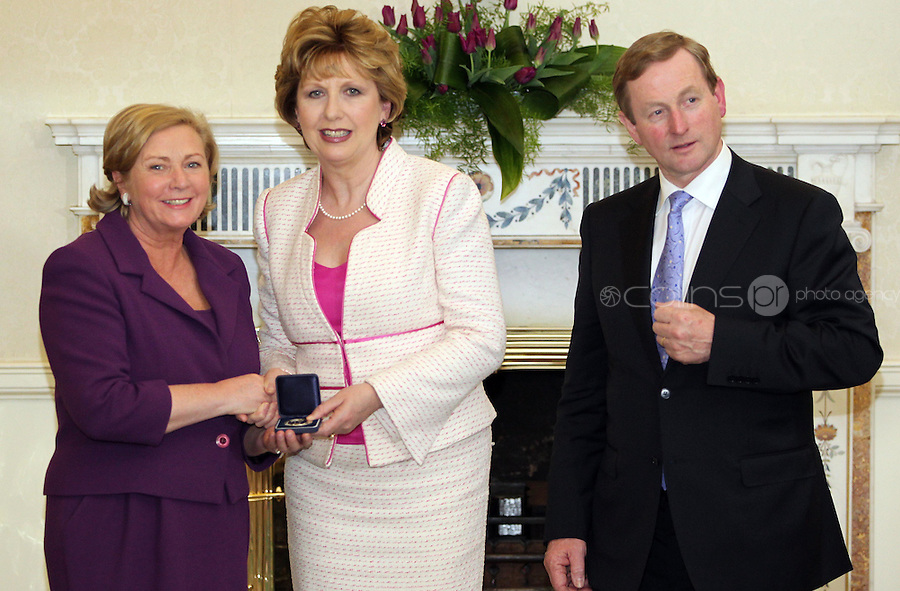 09/03/'11 Minister for Children, Frances Fitzgerald receives her seal of office from President McAleese and Taoiseach, Enda Kenny at Aras an Uachtarain this evening...Picture Colin Keegan, Collins, Dublin.