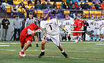 Tehoka Nanticoke (#1) leans in to a Richmond defender as UAlbany Men's Lacrosse defeats Richmond 18-9 on May 12 at Casey Stadium in the NCAA tournament first round.