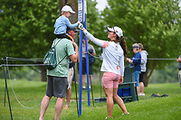 Nuria Iturrioz (ESP) fist bumps a young fan near the tee on 3 during the round 2 of the KPMG Women's PGA Championship, Hazeltine National, Chaska, Minnesota, USA. 6/21/2019.<br /> Picture: Golffile | Ken Murray<br /> <br /> <br /> All photo usage must carry mandatory copyright credit (© Golffile | Ken Murray)