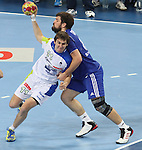 12.01.2013 Barcelona, Spain. IHF men's world championship, Quarter-Final. Picture show Sebastian Skube  in action during game between Russia vs Slovenia at Palau ST Jordi