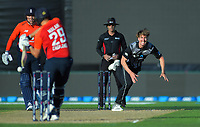 New Zealand's Blair Tickner bowls to England's Dawid Malan during the 4th Twenty20 International cricket match between NZ Black Caps and England at McLean Park in Napier, New Zealand on Friday, 8 November 2019. Photo: Dave Lintott / lintottphoto.co.nz