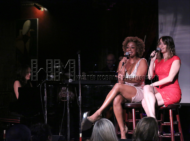 Asmeret Ghebremichael and Emily Padgett performing at The Lilly Awards Broadway Cabaret at the Cutting Room on October 17, 2016 in New York City.