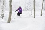 Snowboarder Emma Shapera ripping it up on Powder Mountain, Utah