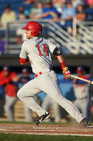 Auburn Doubledays first baseman Jose Marmolejos-Diaz (14) at bat during a game against the Batavia Muckdogs on August 27, 2014 at Dwyer Stadium in Batavia, New York.  Auburn defeated Batavia 6-4.  (Mike Janes/Four Seam Images)
