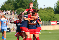 Boyds, MD - Saturday July 09, 2016: Victoria Huster, Cali Farquharson, Estefania Banini celebrates scoring, Christine Nairn, Caprice Dydasco during a regular season National Women's Soccer League (NWSL) match between the Washington Spirit and the Chicago Red Stars at Maureen Hendricks Field, Maryland SoccerPlex.