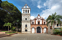 Iglesia de Santa Barbara, or St Barbara's Church, built in 1584 and rebuilt in the 18th century in Spanish Colonial style, with 3 arches and 2 uneven towers, in the Colonial Zone of Santo Domingo, capital of the Dominican Republic, in the Caribbean. Santo Domingo's Colonial Zone is listed as a UNESCO World Heritage Site. Picture by Manuel Cohen