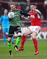 Plymouth Argyle's Ryan Taylor competes with Fleetwood Town's Ashley Eastham<br /> <br /> Photographer Richard Martin-Roberts/CameraSport<br /> <br /> The EFL Sky Bet League One - Fleetwood Town v Plymouth Argyle - Saturday 10th March 2018 - Highbury Stadium - Fleetwood<br /> <br /> World Copyright &not;&copy; 2018 CameraSport. All rights reserved. 43 Linden Ave. Countesthorpe. Leicester. England. LE8 5PG - Tel: +44 (0) 116 277 4147 - admin@camerasport.com - www.camerasport.com