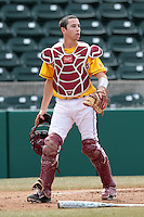 Garrett Stubbs (51) of the USC Trojans in the field against the Jacksonville Dolphins at Dedeaux Field on February 19, 2012 in Los Angeles,California. USC defeated Jacksonville 4-3.(Larry Goren/Four Seam Images)