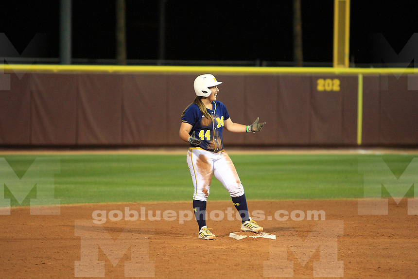 The University of Michigan softball team defeated San Diego State U. 9-1 in their 3rd game of the 2014 NCAA Tournament. Tempe, AZ, May 17, 2014