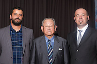 16 July 2011: Japanese Hall of famer Yoshio Yoshida, of the Hanshin Tigers, and former France Team Manager poses with Jamel Boutagra (left) and Didier Seminet, President of French Federation of Baseball (right) as he is honored by the French Federation of Baseball during the 2011 Challenge de France in Rouen, France.