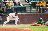 Oral Roberts Golden Eagles third baseman Jose Trevino #5 prepares to tag out a Baylor baserunner during the NCAA Regional baseball game against Baylor University on June 3, 2012 at Baylor Ball Park in Waco, Texas. Baylor defeated Oral Roberts 5-2. (Andrew Woolley/Four Seam Images)